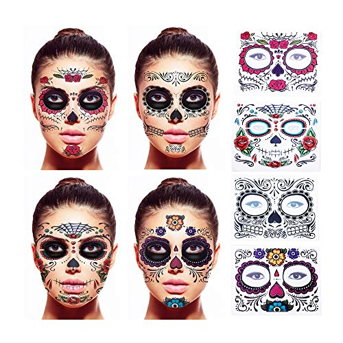 Floral Day of the Dead Sugar Skull Temporary Face Tattoo Kit, Black Web, Red Roses - Pack of 4
