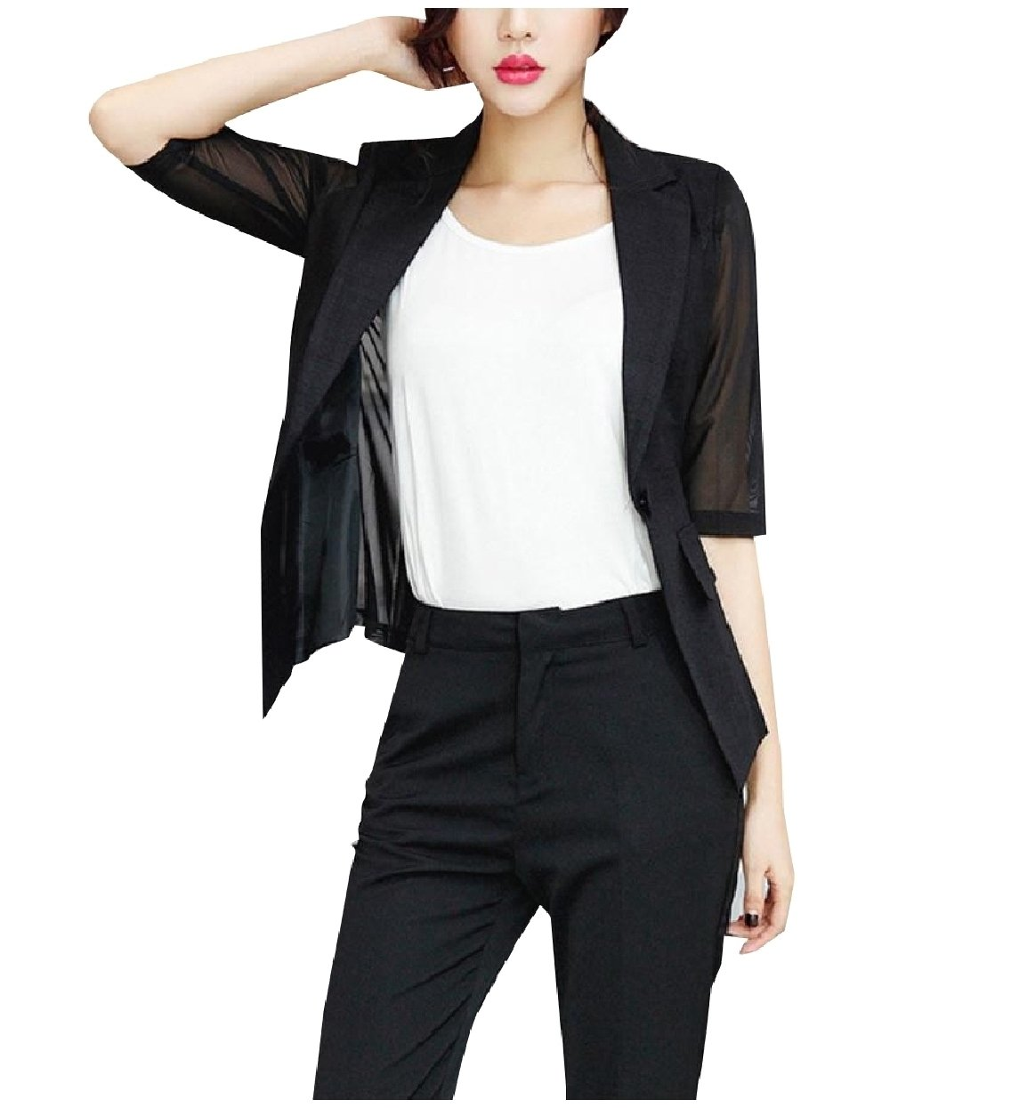 Abetteric Womens Solid Fine Cotton Mesh Blazer Elbow Sleeve Welt Jacket Black XL