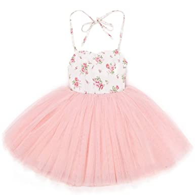 1fc49837c2 Flofallzique Christening Baby Girls Dress Pink Tutu Vintage Floral Wedding  Party Toddler Clothes(0)