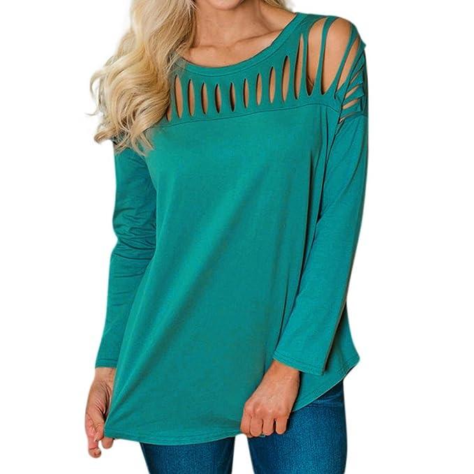 Paellaesp Mujer camisetas manga larga suelta agujero Trim blusa color sólido cuello redondo túnica T-