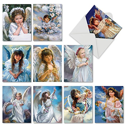 'Angelicards' Blank Note Cards (4 x 5.12 Inch) for All Occasions, Guardian Angel Themed Greeting Cards for Baby Shower, Mother's Day, Birth Announcements M6490OCB           (Angels Postcard)