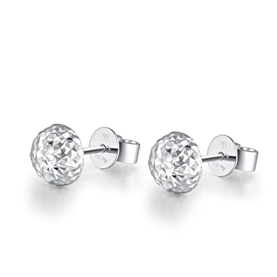 607cebb5a 14ct White Gold Half Disco Ball Dome Diamond-Cut Faceted Women Earrings  (6MM) Black Friday Christmas Gift for Women Girls Teens: Amazon.co.uk:  Jewellery