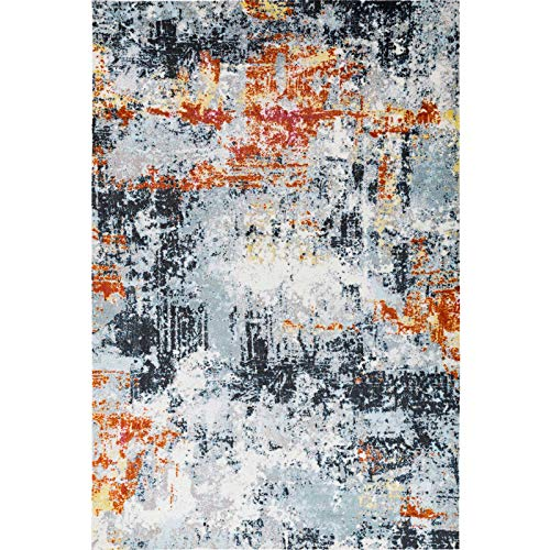 (Decomall Vienna Modern Distressed Vintage Watercolor Abstract Bohemian Persian Shabby Chic Area Rug for Living Room, Bedroom, 5x7 ft, Multicolor)