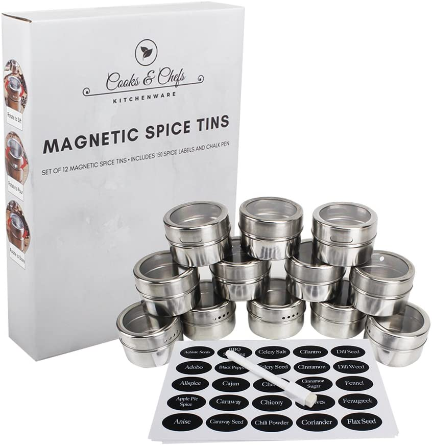 Cooks and Chefs 12 Magnetic Spice Tins 150 Spice Labels including 96 Blank Labels and Chalk Pen for customization Storage Spice Rack Set of 12 Clear Top Lid w/Sift and Pour- Good for Office Supplies