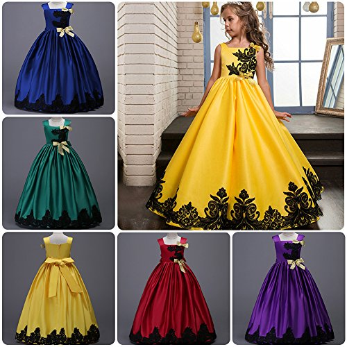 IBTOM CASTLE Big Girls Kids Lace up Prom Event Wedding Party Fall Flower Pageant Dress Long Maxi Evening Floor Dance Gowns