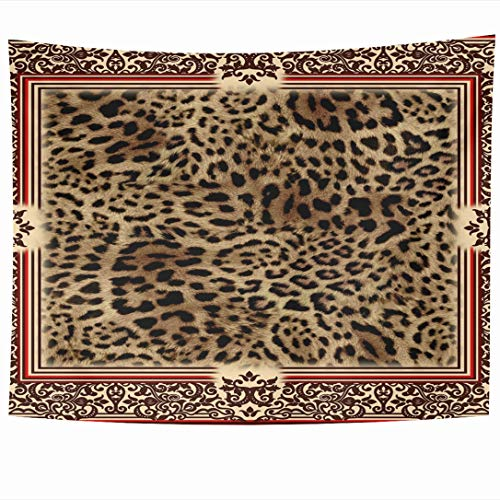 Ahawoso Tapestry 90x60 Inch Wool Brown Skin Wild Leo Pattern Style Abstract Leopard Fur Panther Black Camouflage Cat Tapestries Wall Hanging Home Decor for Living Room Bedroom Dorm