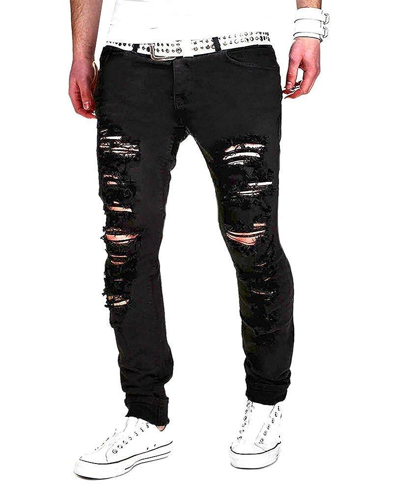 Tomsent 2017 Elasticizzati da Uomo Strappati Jeans Taglio Straigh Pantaloni Skinny Mode Casual Sguardo Distrutto Patchato Stile Men Pants ZR170524XJ-DEX11