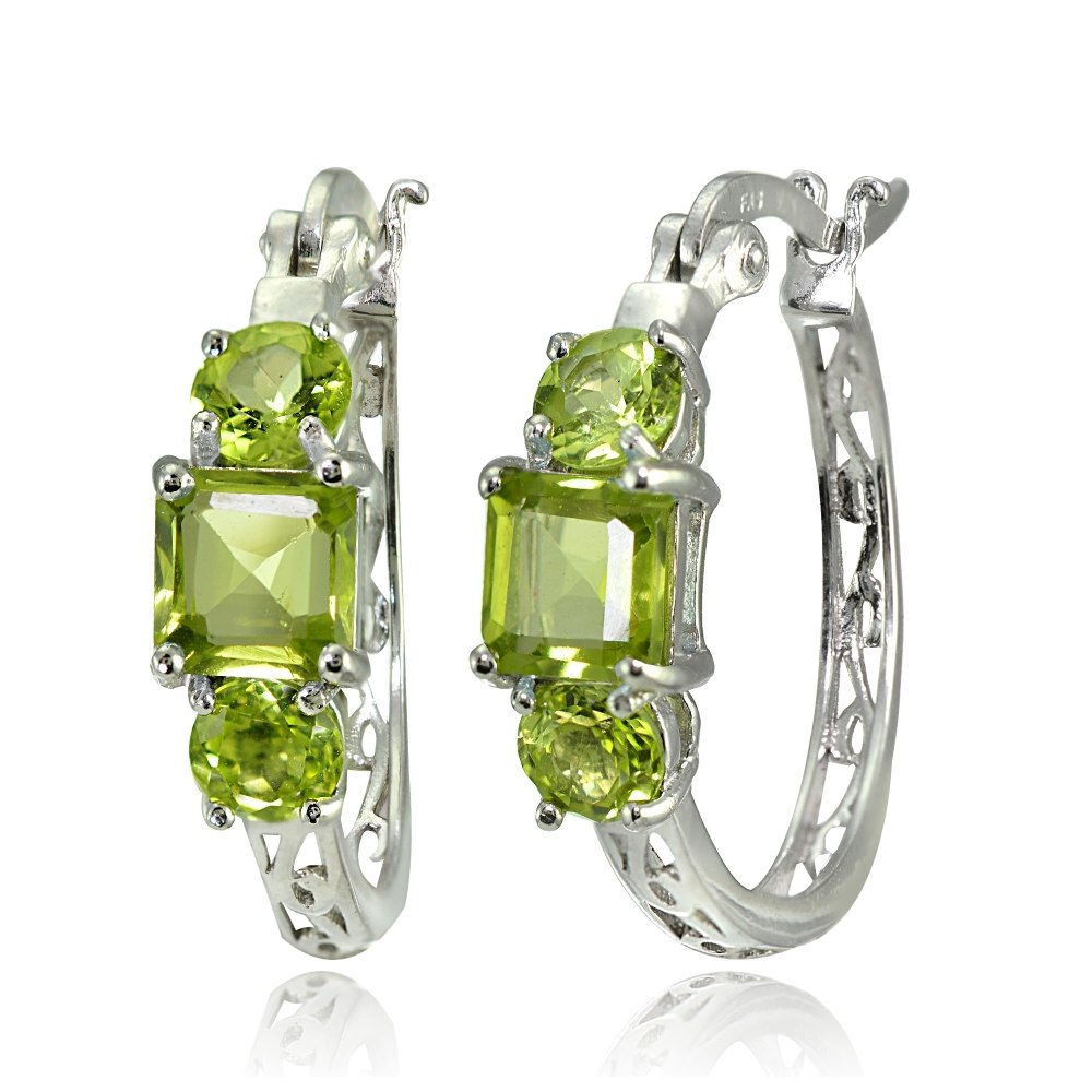 Sterling Silver Gemstone Three-Stone Filigree Hoop Earrings