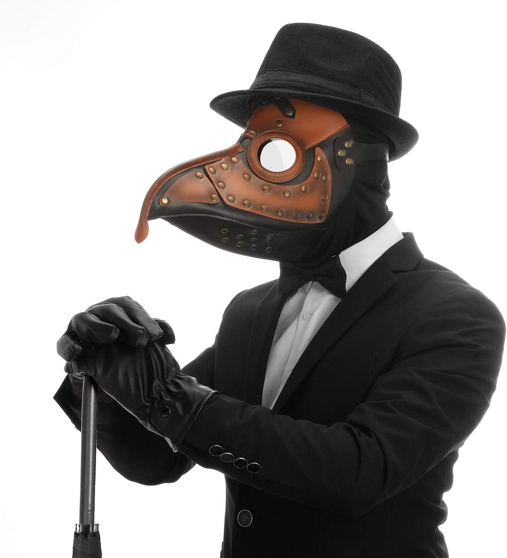 YOMI Maschera Medico della Peste Maschera per Becco A Naso Lungo Scherzo Maschera per Uccelli in Pelle retr/ò Cosplay Gotico Steampunk Costume di Halloween