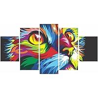 Quadro Decorativo Gato Colorido Mosaico Ambiente Decor