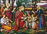 "Goldmilky Cross Stitch Kit Stained Glass ""Bringing Children to Jesus"" 27""x 20 """