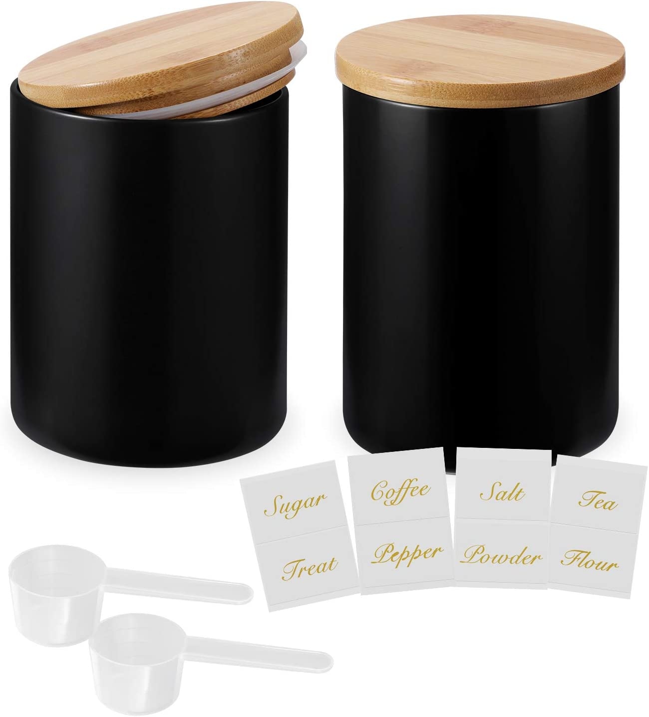 Kitchen Canisters with Bamboo Lids, Airtight Ceramic Canister Set, Coffee, Sugar, Tea, Flour Storage Containers, Farmhouse Kitchen Decor