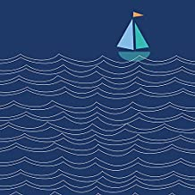 Oopsy Daisy Sailboat & Waves Canvas Wall Art by Ampersand Design Studio, 14 by 14-Inch