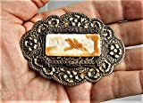 Paul Revere 1930'S GORGEOUS CAMEO 3 Layers Art Nouveau Brass Sash Pin Repousse Flowers, Scrolls, Filigree Vintage Hand Carved Shell Cameo