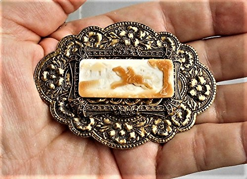 Filigree Cameo Pin - Paul Revere 1930'S GORGEOUS CAMEO 3 Layers Art Nouveau Brass Sash Pin Repousse Flowers, Scrolls, Filigree Vintage Hand Carved Shell Cameo