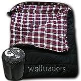 Wolftraders TwoWolves +0 Degree Premium Canvas Two Person Sleeping Bag, Black/Purple