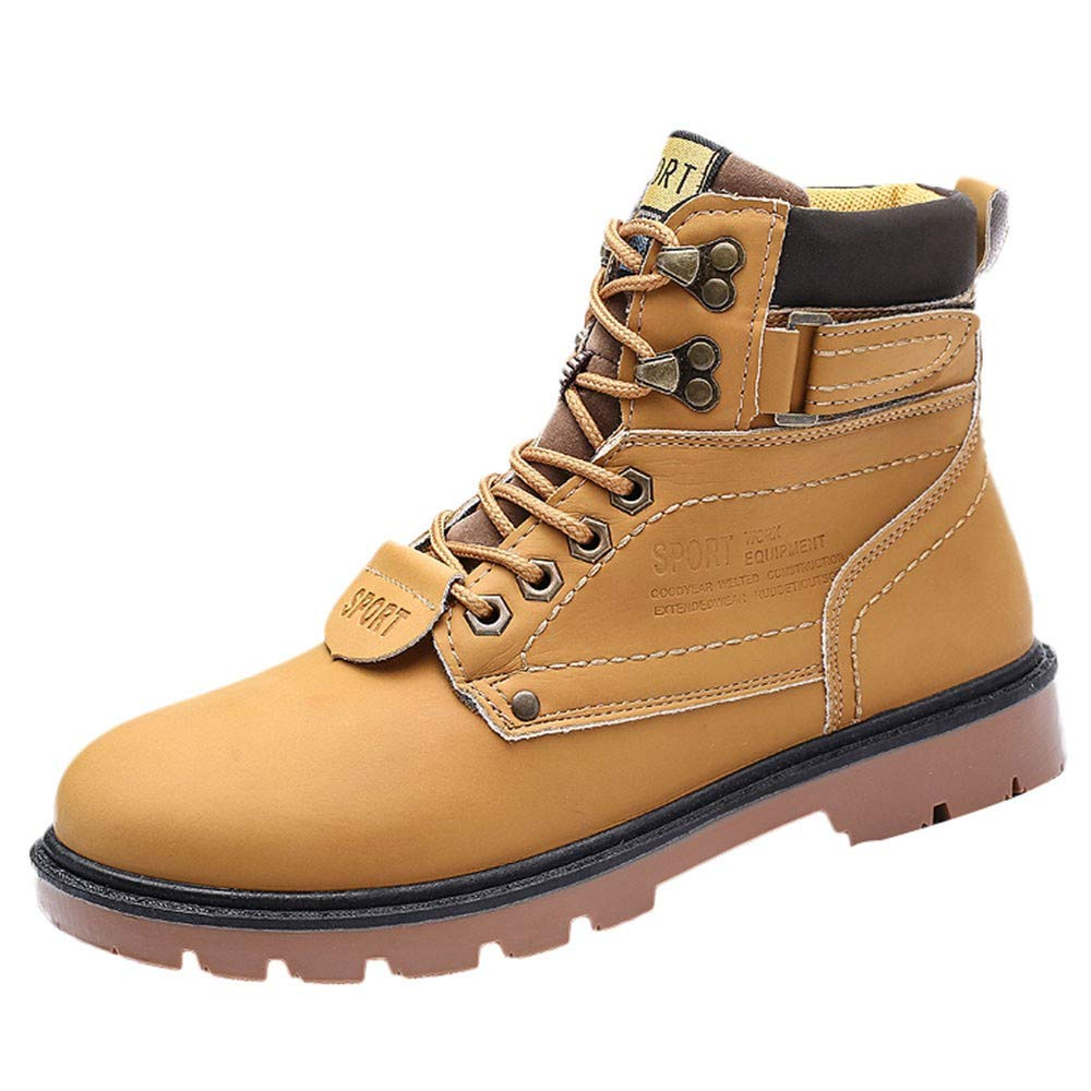 Men's Shoes HOSOME Men Boots Outdoor Wear Non-Slip Shoes Retro Shoes Gift for Boyfriend Yellow