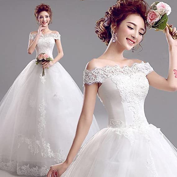 Amazon.com: MOMO Korean v-neck princess bride lace wedding dress,white,XL: Sports & Outdoors