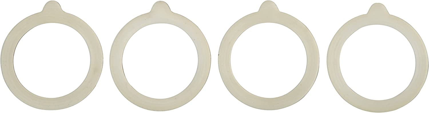 HIC Silicone Replacement Gasket Seals, Fits Regular Mouth Canning Jars, 3.75 x 3.75-Inches, Set of 4