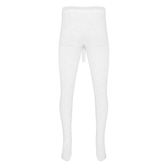 Freebily Homme Transparent Legging Collants Orteils Extensible Bas de Pyjama  Erotique Pantalons sous-vêtement avec Ouvert Fermé Gaine Pénis Poche Blanc  ... c0d2c0adc29