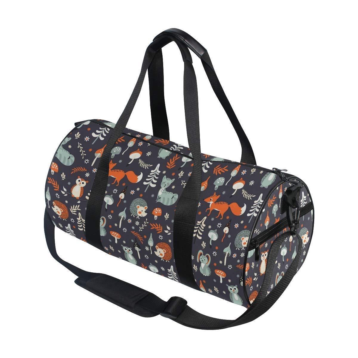 Cute Woodland Animal Owl Fox Hedgehog Travel Duffel Bag Sports Gym Duffel Bag Luggage Handbag for Men Women