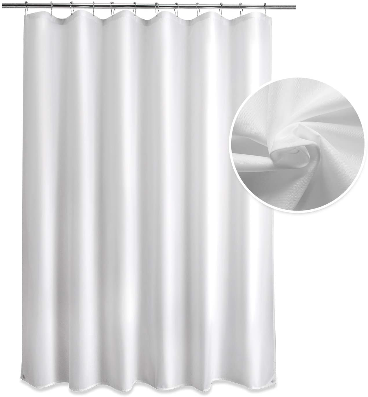 Titanker Fabric Shower Curtain Liner, White Shower Curtain Liner with 2 Magnets, Waterproof Polyester Shower Curtains Bathroom 85GSM Shower Curtain Liners, Machine Washable, 70 x 72 Inches
