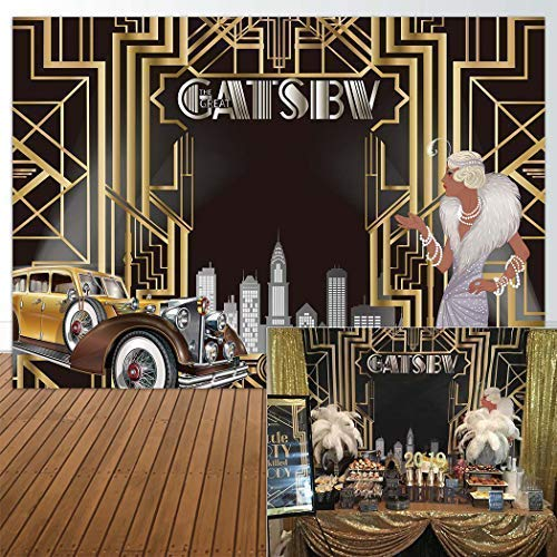 Allenjoy 7x5ft The Great Gatsby Themed Backdrop for Adult Celebration Retro Roaring 20's 20s Party Art Decor Happy 1st Birthday Wedding Decoration Pictures Background Supplies Photo Booth Prop -