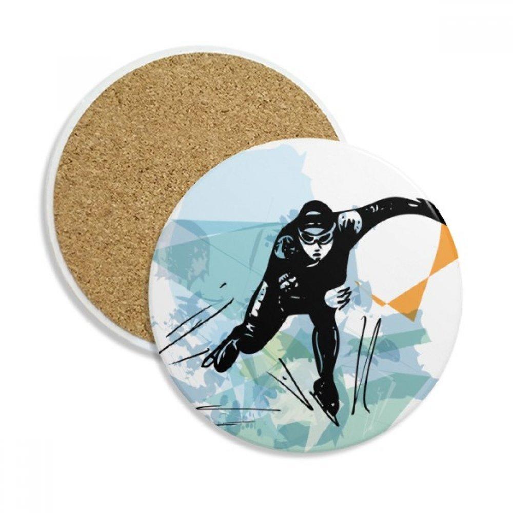 冬スポーツSpeed Skatingオス陸上競技選手ストーンDrink Ceramicsコースターマグカップギフト用2ピース   B075GXQ5VG