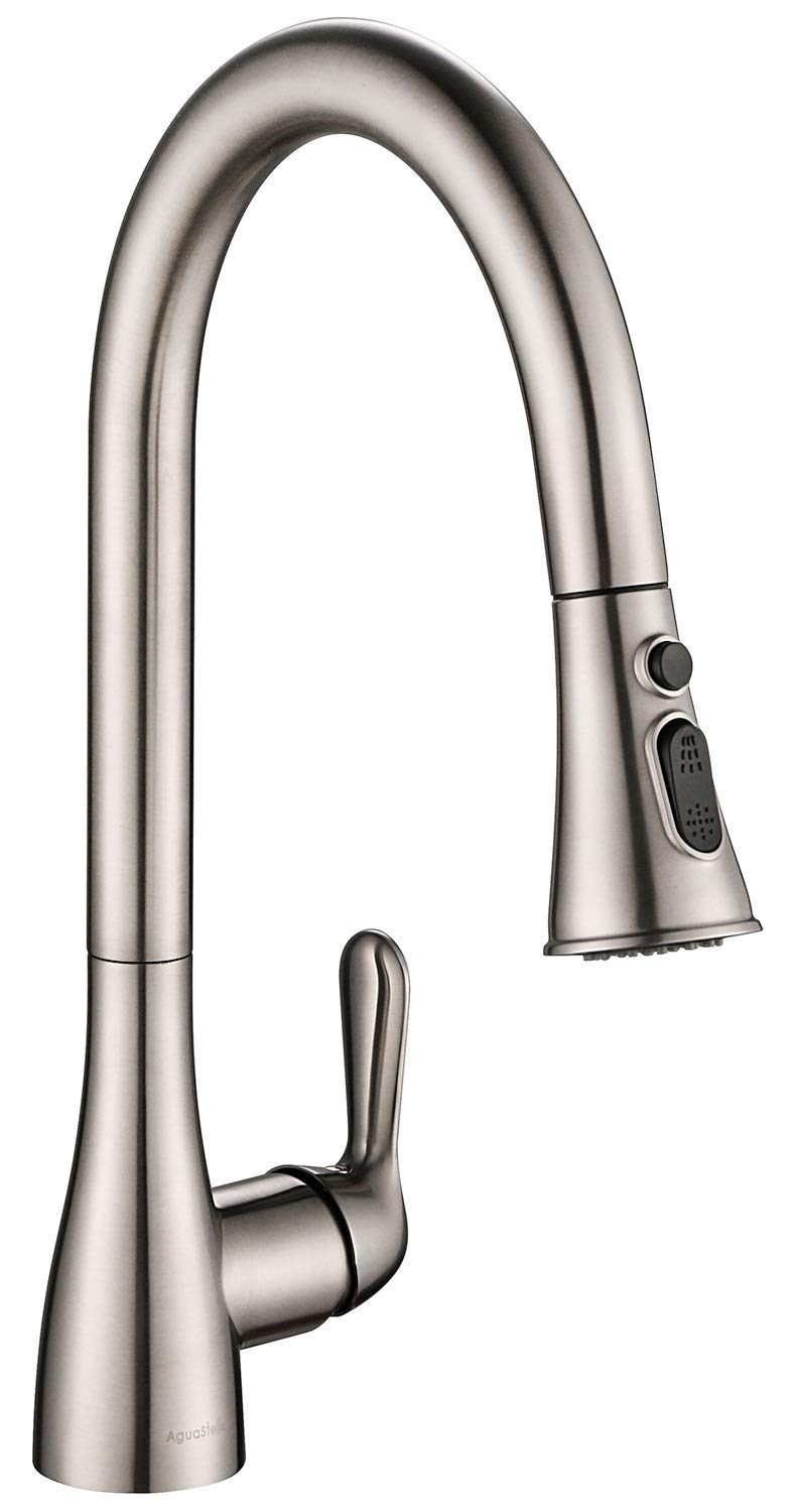 AguaStella AS98BN Pull Down Kitchen Faucet Single Handle Brushed Nickel Kitchen Sink Faucet with Deck Plate