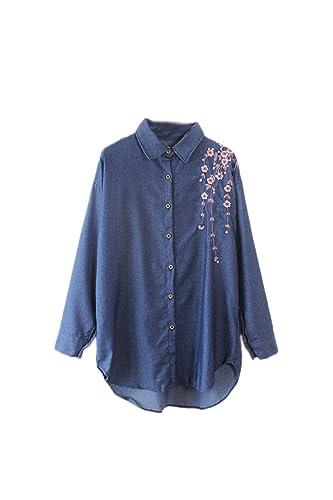 La Mujer Elegante De Manga Larga Camisa De Denim Vintage Floral Bordado Blusa Top