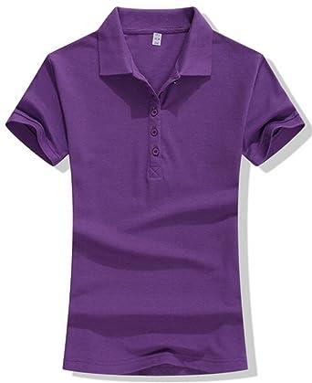 d8940a2a2cdd6 Pipi Women Girl Fashion Slim T-shirt Short Sleeve Solid Polo Shirt ...