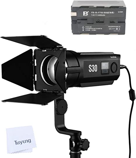 Godox S30 30W Focusing LED Continuous Adjustable Light Spotlight with Barn Door for Professional Photography for Film and Video Production//Still Life Shooting//Wedding Shooting