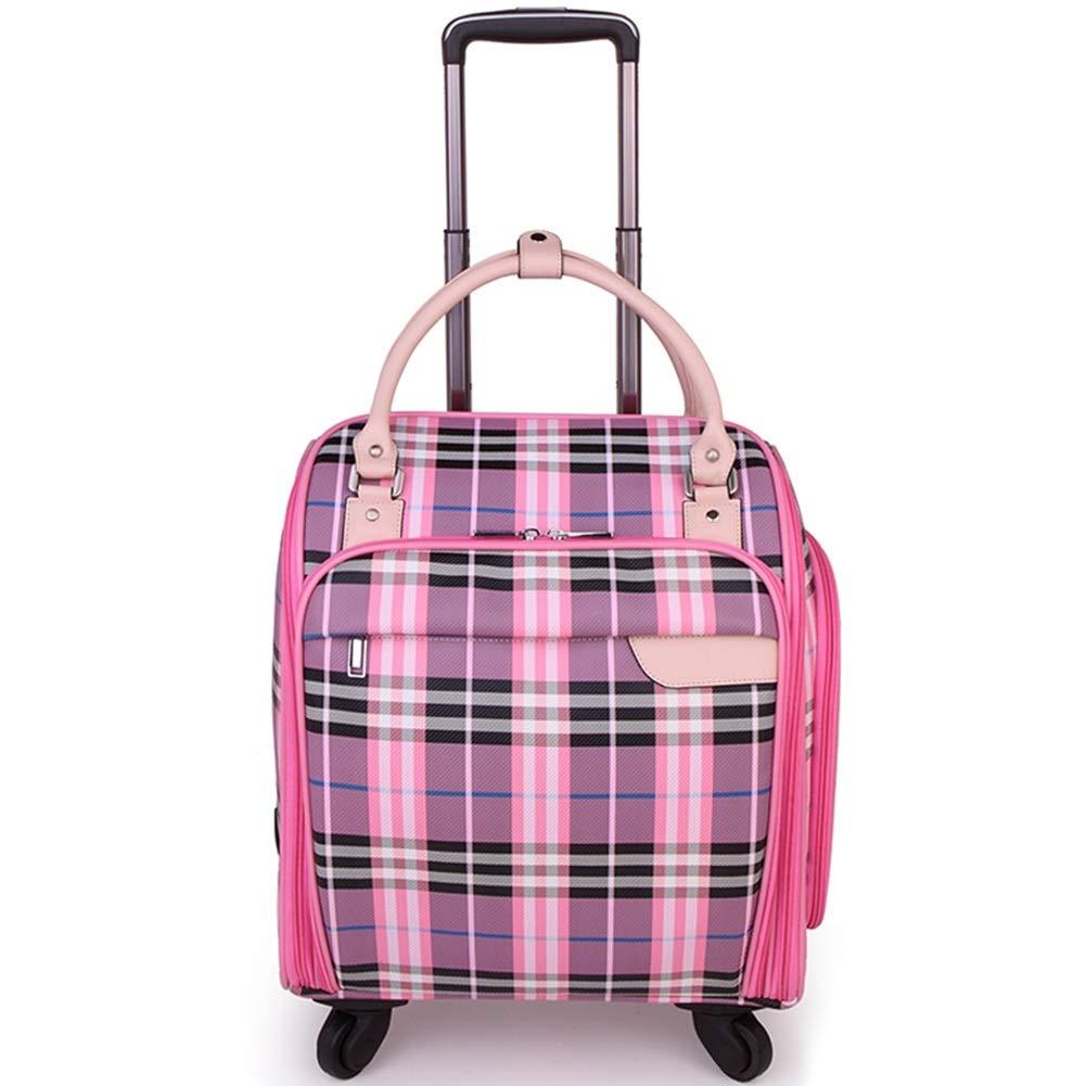 ZHANGQIANG ハンドトラベル荷物トロリーケース 旅行Holdallは手荷物によって動かされるトロリーハンドバッグの方法便利で大きい容量を袋に入れます (色 : ピンク, サイズ さいず : Medium(16)) B07PVM8Y99 ピンク Medium(16)