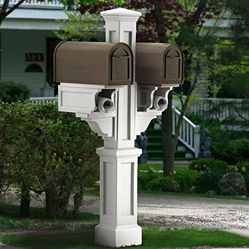 Mayne Rockport Plastic Double Mailbox Post in White