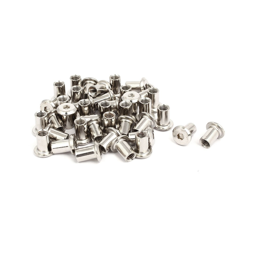 uxcell M6x12mm Female Thread Hex Socket Head Barrel Nut Furniture Fittings 40pcs