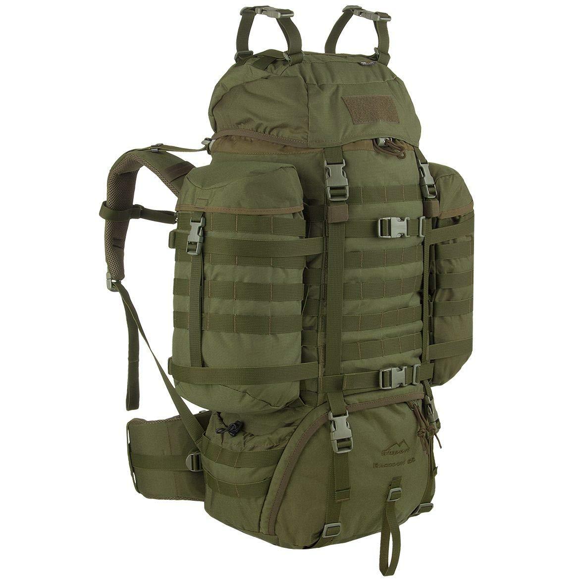 Olive green Sac à dos Militaire Wisport Raccoon 65Litres, Cordura, MOLLE, Survie, Sport, Plein air, Camping, Randonnée, Scoutisme, Trekking