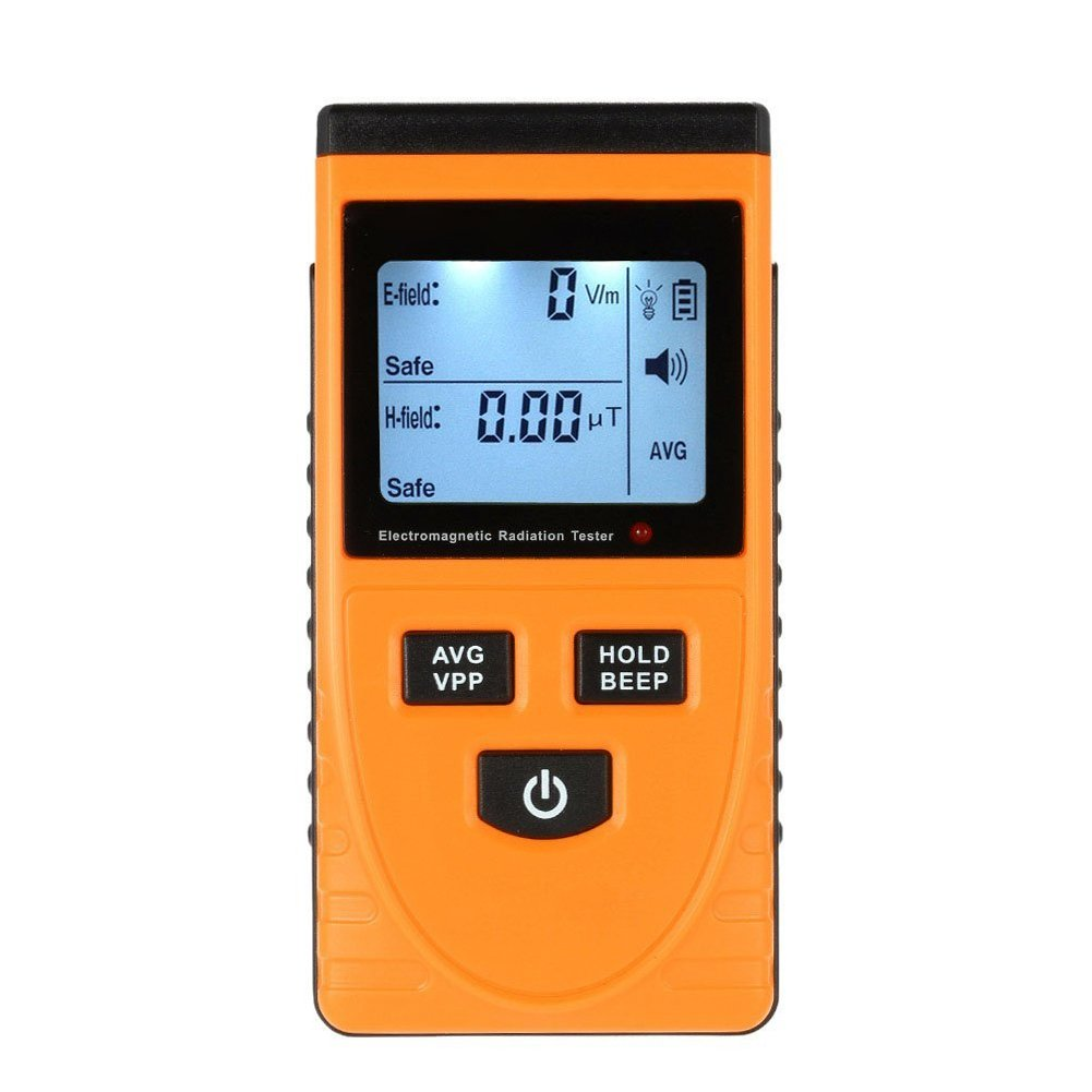 Acekool Digital LCD Electromagnetic Radiation Detector with Two Uses(Electric And Magnetic Field) And Sound-Light Alarm for Indoor and Outdoor -Yellow