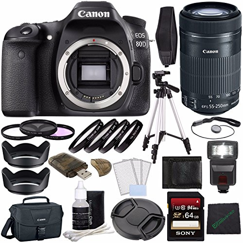 Canon EOS 80D DSLR Camera (Body Only) + Sony 64GB SDXC Card + Tripod + Flash + Canon EOS Shoulder Bag 100ES + Card Reader + Cloth + Canon EF-S 55-250mm f/4-5.6 IS STM Lens Bundle -  GreensCameraWorld, 1263C004--4