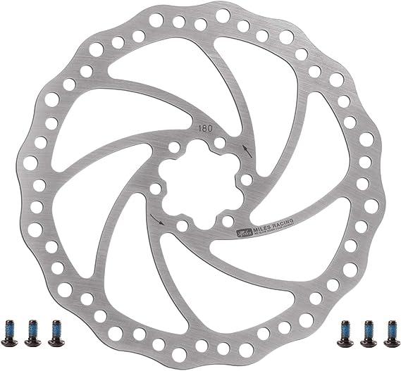 Disco de freno de bicicleta de Miles Racing, de acero inoxidable para usar con pastillas de freno de disco orgánico, semimetálico y sinterizado, tamaño 180 mm, 0.35: Amazon.es: Deportes y aire libre