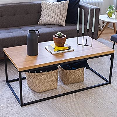 Nathan Home Wood Coffee Table - Modern Industrial Space Saving Sofa/Couch Living Room Furniture, Metal Box Frame - SAVE PRECIOUS SPACE, CREATE YOUR OWN STORAGE: With a frame box design, you can store books, blankets or extra pillows underneath the table to keep your home clutter free!. The wood coffee table is low enough to be a footrest for your couch so that you can kick up your legs at the end of a long day. Tip, tuck your blankets and books beneath the table in a basket or stretch out your legs and turn this table into a second dining table when you want to enjoy a (deserving) Netflix dinner. MINIMALIST DESIGN: The simple elements of this sofa table will make sure your room still feels open whether you have a small apartment space or standard home. This wooden coffee table will perfectly anchor your bedroom, living room, or parlor design. Whether your furniture already has a modern, rustic, reclaimed or contemporary design, not to worry, a minimalist style will always add the right complement. Dress it up or keep it simple, it looks great either way. NO SCRATCHED FLOORS ON OUR WATCH. We have included 4 self-adhesive circular furniture pads for the bottom corners of the rectangular steel table base to make sure your living room table doesn't scratch your floors. We're not the type of company that wouldn't include batteries. #gotyourback #fullpackage - writing-desks, living-room-furniture, living-room - 614uQqHpcUL. SS400  -