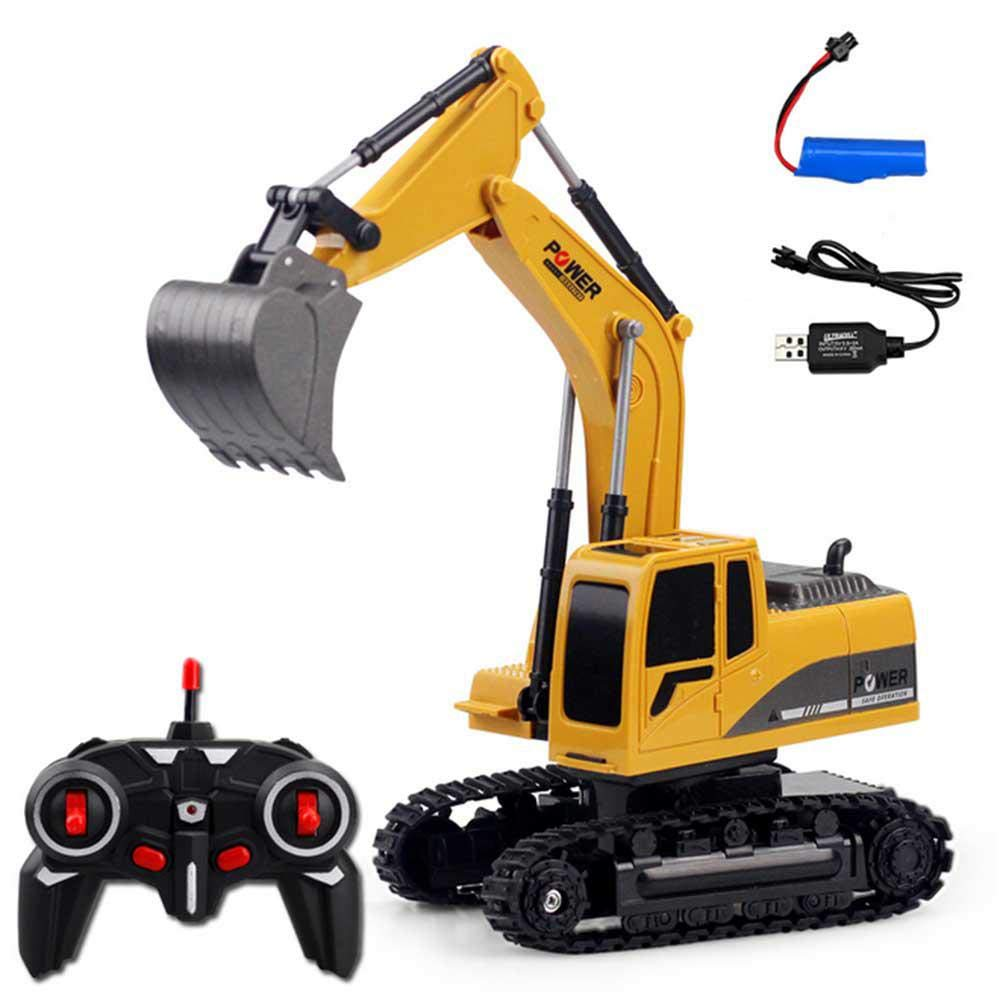 Womdee 6 Channel Remote Control Excavator, 1:24 RC Digger Truck with Lights and Sounds, 270° Manual Rotation, 2.4G Hz Rechargeable Excavator Toy(Plastic) 270° Manual Rotation