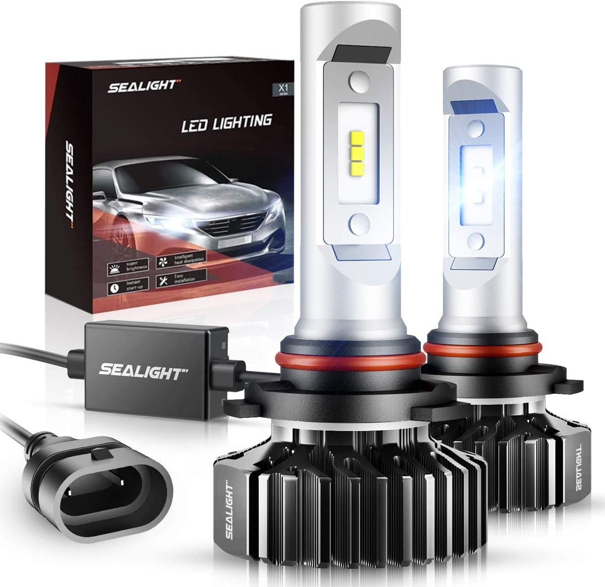 SEALIGHT 9005/HB3 LED High Beam Headlight Bulb X1 Series 9145/9140/H10 Fog Light Bulbs Xenon White 6000K Non-polarity