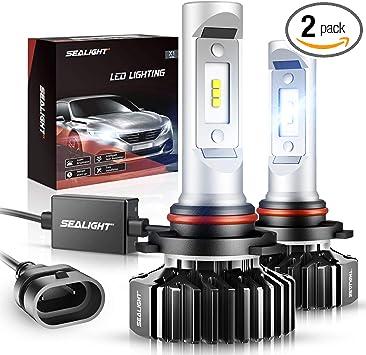 SEALIGHT 9005/HB3 LED Headlight Bulbs,12000LM High Beam/Fog Light LED Conversion Kit 6000K Xenon White Non-polarity, Pack of 2