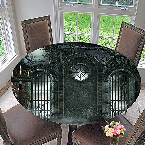 Mikihome Round Table Tablecloth Decor Moon Halloween Ancient Historical Gate Gothic Background Candles Fiction View Gray for Wedding Restaurant Party 43.5
