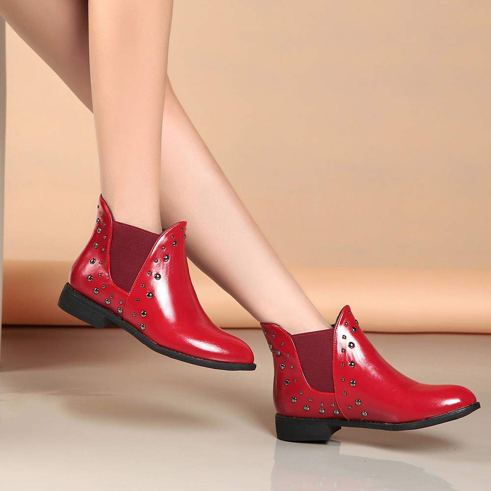 Boots For Women, Clearance Sale !! Farjing Casual Rivets Shoes Keep Warm Boot Leather Flat Ankle Boots Martin Boots(US:7,Red) by Farjing (Image #5)
