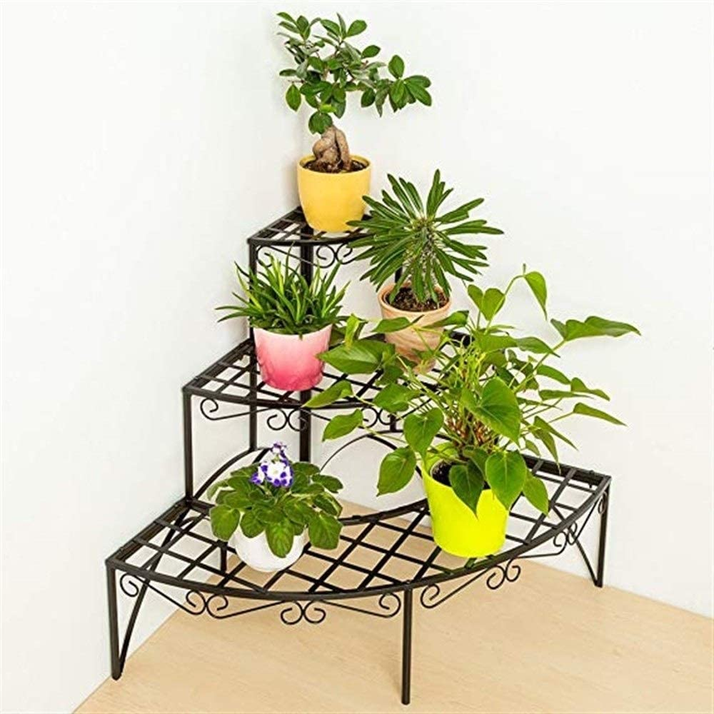 Balkon Pflanzenrahmen Outdoor Blumentopf Display Regal Indoor BESTONZON Metal Corner Flower Racks Pflanze Blume Display-St/änder 4 Schicht Blumentopf Rack