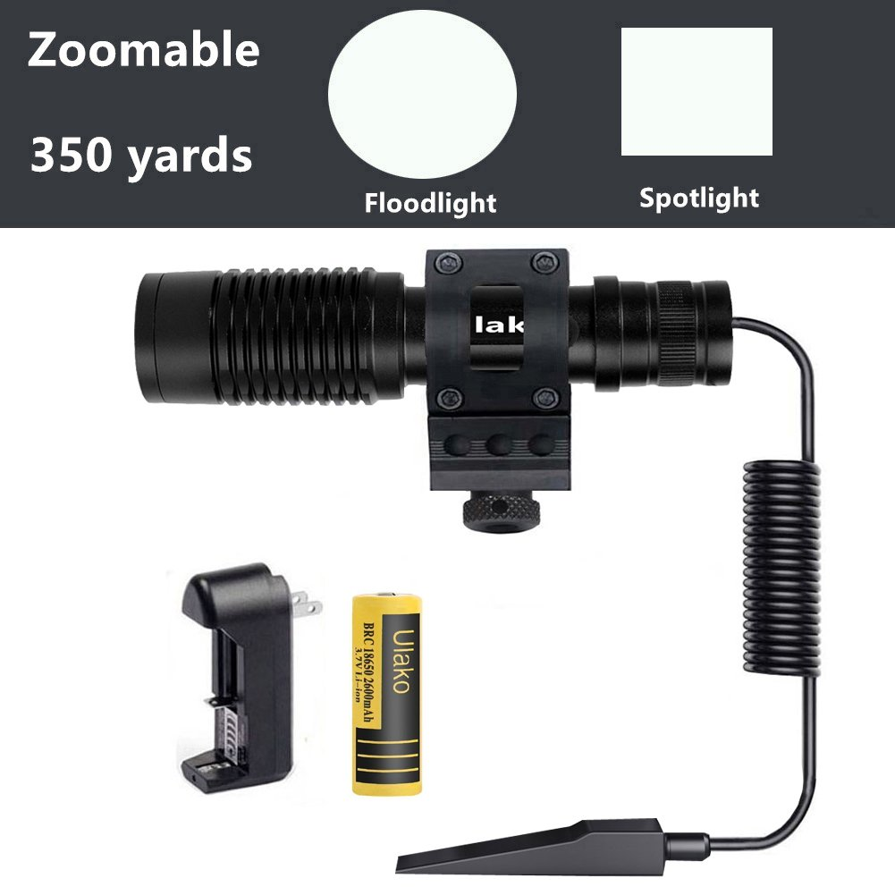Ulako Offset Mount 350 Yards Zoomable L2 LED 1000LM Single 1 Mode Tactiacl Flashlight Torch for AR15 Rifle Shotgun by Ulako