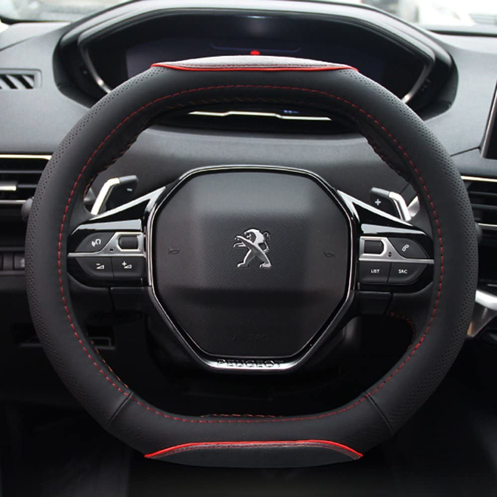 Black No Smell Anti Slip Breathable FMS PU Leather Steering Wheel Cover Car Steering Wheel Protector Durable