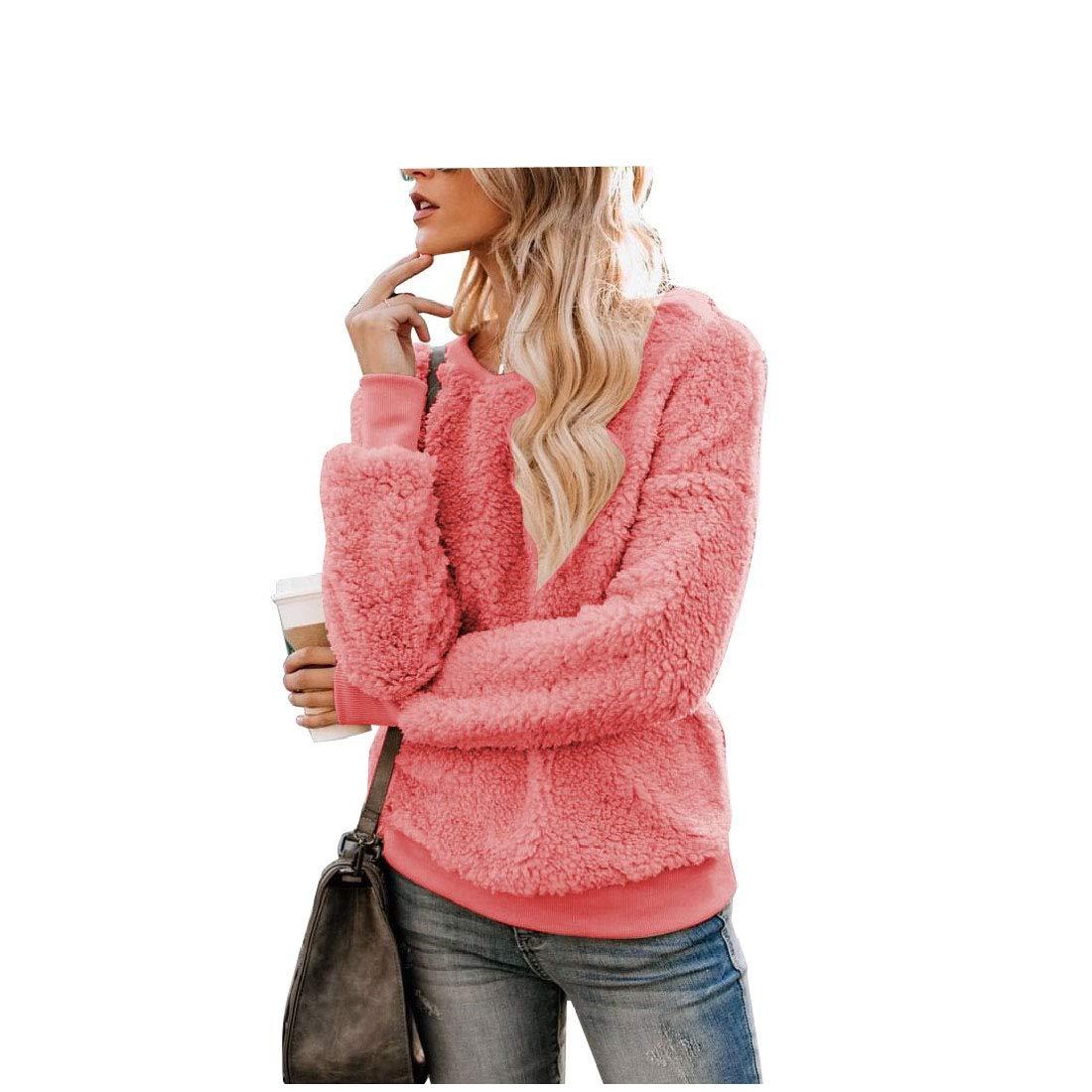 RkBao Womens Solid-Colored Scoop Neck Pullover Leisure Hoodie Sweatshirt