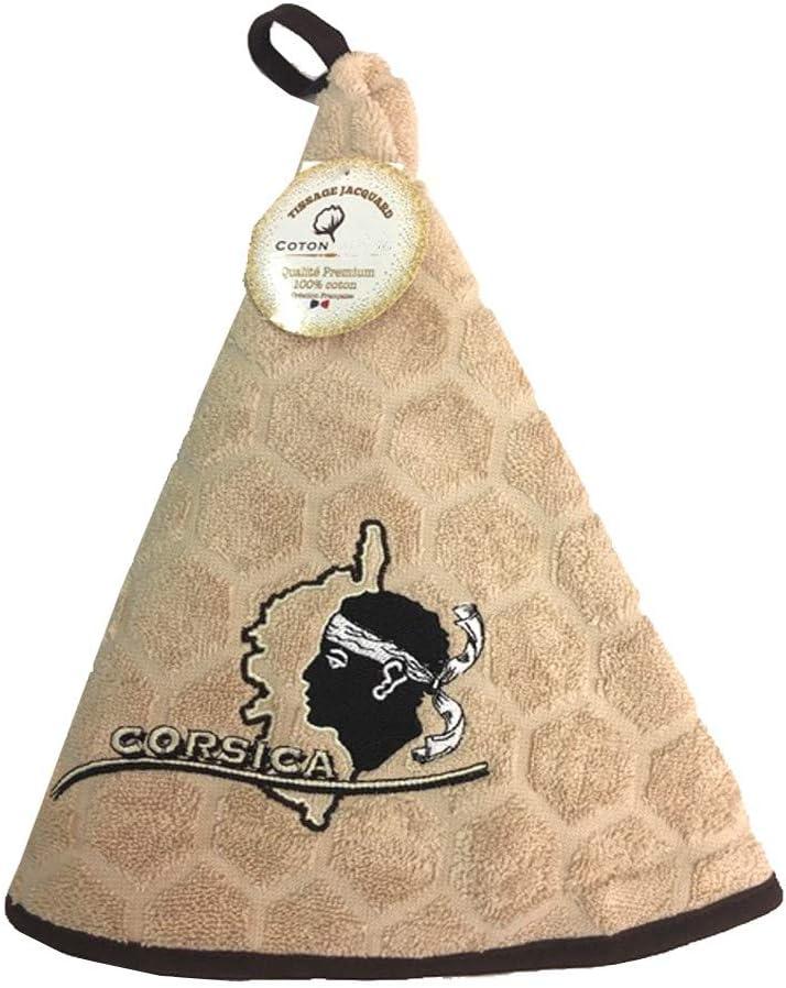 Essuie main rond en /éponge Tissage Jacquard T/ête de Maure Corsica beige Qualit/é Premium